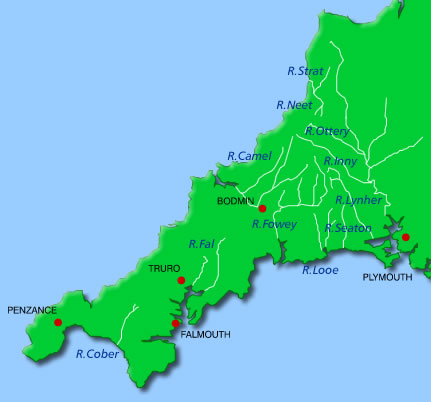 Map of Cornwall showing rivers  B04k